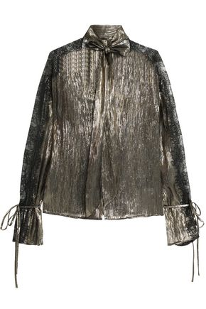 PERSEVERANCE Pussy-bow lace-trimmed metallic silk-blend blouse