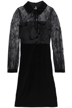 BADGLEY MISCHKA Velvet-trimmed lace-paneled chenille dress
