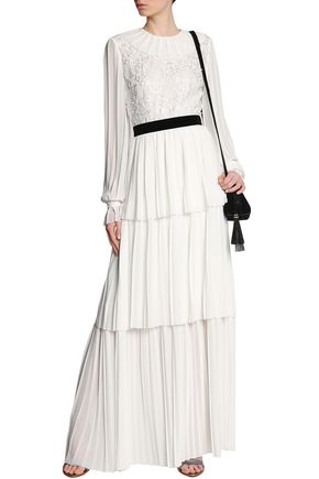 PERSEVERANCE Floral-appliquéd embroidered tiered pleated crepe gown