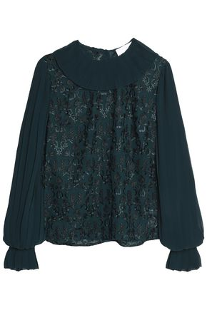 PERSEVERANCE Floral-appliquéd pleated embroidered chiffon blouse
