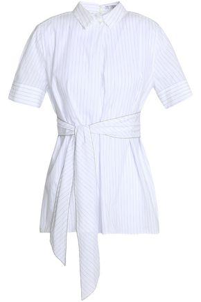 BRUNELLO CUCINELLI Crystal-embellished striped cotton and linen-blend shirt
