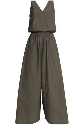 BRUNELLO CUCINELLI Cropped crystal-embellished cotton-blend jumpsuit