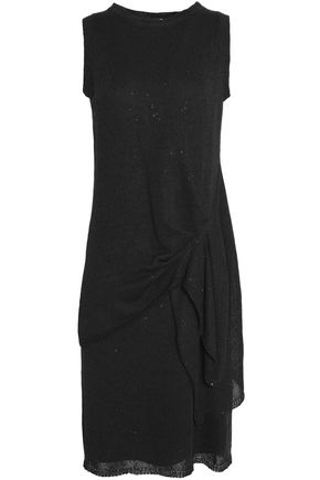 BRUNELLO CUCINELLI Sequin-embellished draped knitted dress