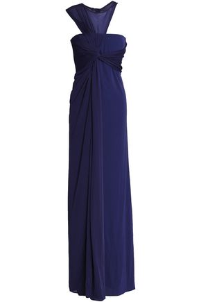 HALSTON HERITAGE Asymmetric draped jersey gown