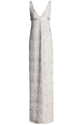 HALSTON HERITAGE Satin-trimmed sequined gown
