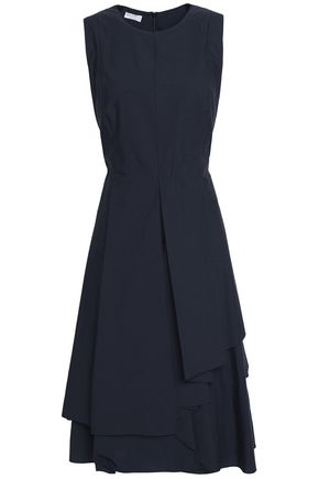 BRUNELLO CUCINELLI Layered ruffled crepe midi dress