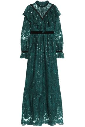 PERSEVERANCE Velvet-trimmed sequin-embellished ruffled lace gown