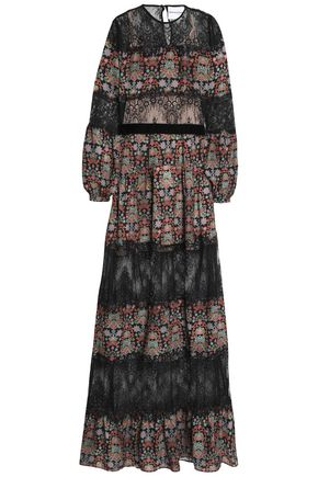 PERSEVERANCE Chantilly lace-paneled floral-print chiffon gown