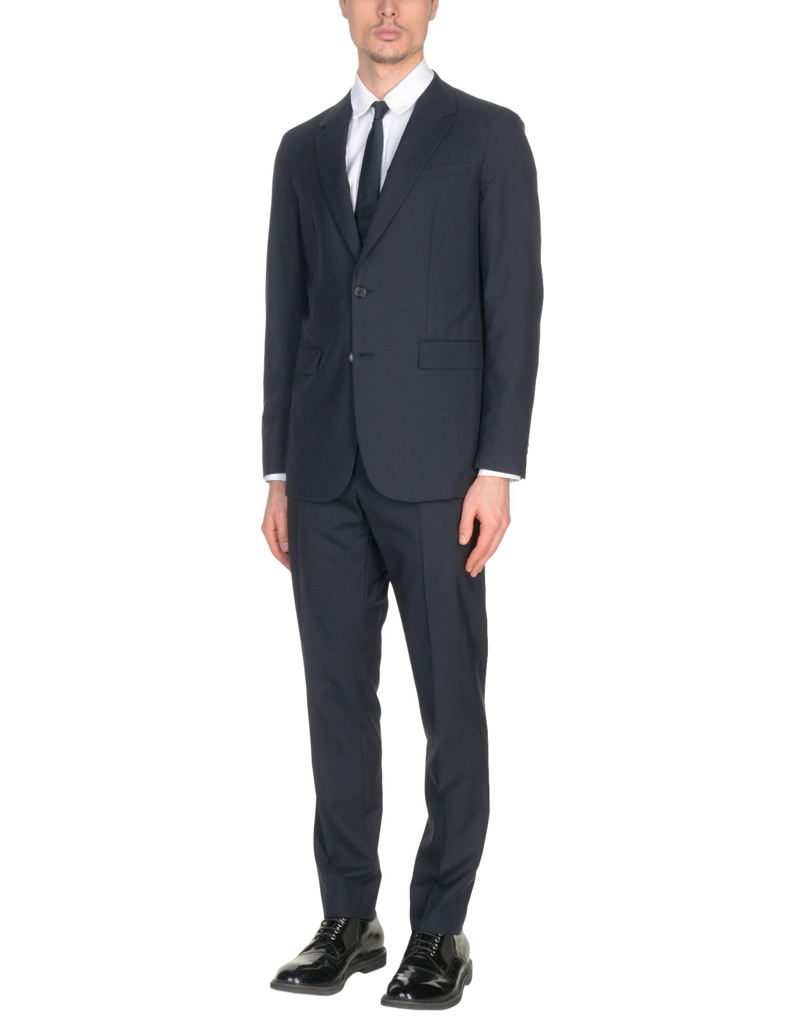 JIL SANDER Suits. cool wool, no appliqués, solid color, multipockets, single chest pocket, 2 buttons, lapel collar, single-breasted, long sleeves, semi-lined, rear split, mid rise, hook-and-bar, button fly closure, straight-leg pants. 63% Virgin Wool, 37% Cotton