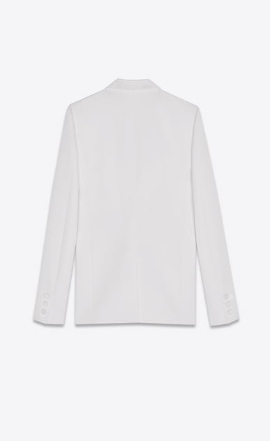 SAINT LAURENT Tuxedo Jacket Woman Tuxedo jacket in white grain de poudre b_V4