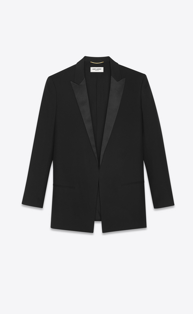 SAINT LAURENT Vestes de smoking Femme Veste longue de smoking en gabardine noire a_V4