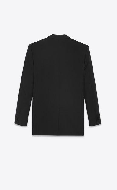 SAINT LAURENT Vestes de smoking Femme Veste longue de smoking en gabardine noire b_V4