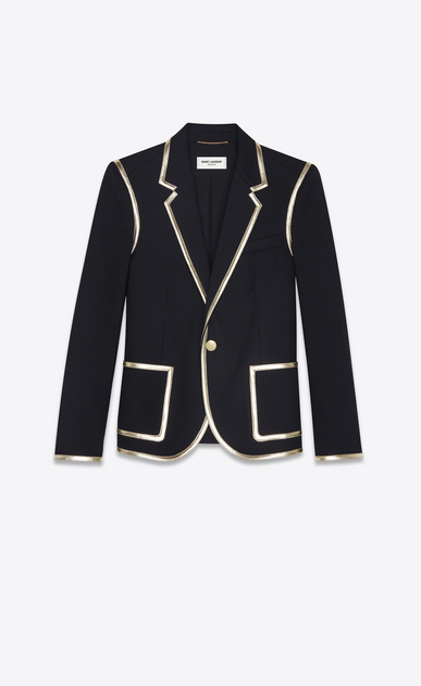 SAINT LAURENT Blazer Jacket Woman Jacket in black wool gabardine and gold leather a_V4
