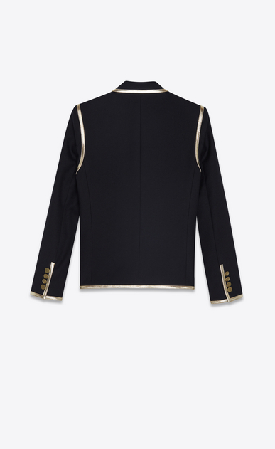 SAINT LAURENT Blazer Jacket Woman Jacket in black wool gabardine and gold leather b_V4
