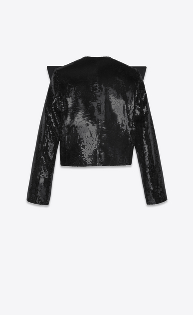 SAINT LAURENT Giacca Smoking Donna Giacca tuxedo con paillette e collo oversized nero in raso b_V4