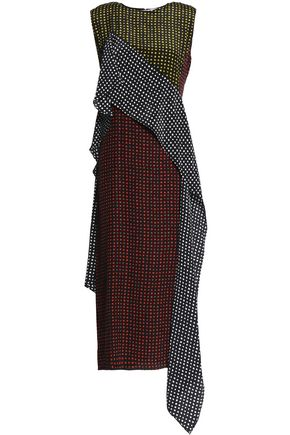 DIANE VON FURSTENBERG Draped paneled printed silk midi dress