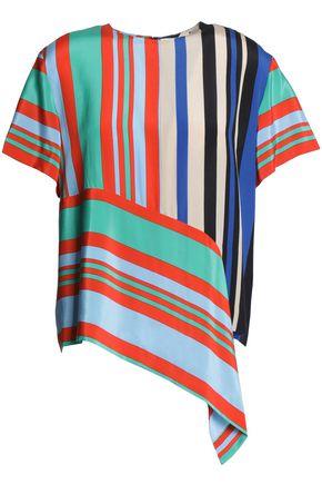 DIANE VON FURSTENBERG Draped striped silk satin-crepe blouse