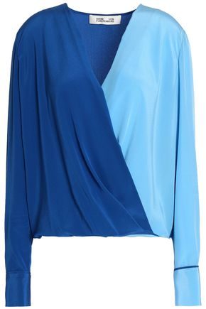 DIANE VON FURSTENBERG Color-block silk blouse