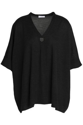 BRUNELLO CUCINELLI Crystal-embellished cashmere and silk-blend sweater