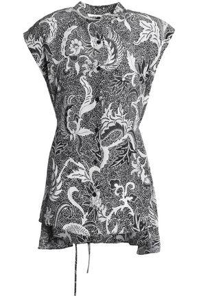 DIANE VON FURSTENBERG Asymmetric floral-print silk-crepe de chine top