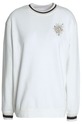 BRUNELLO CUCINELLI Crystal and bead-embellished cotton-blend sweater