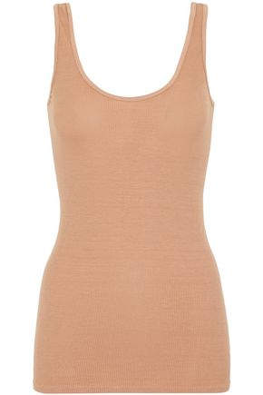 WOMAN RIBBED STRETCH-KNIT TANK CAMEL