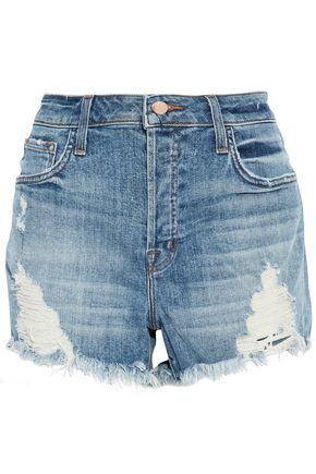 J BRAND Distressed faded denim shorts
