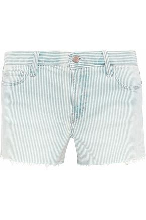 J BRAND Frayed striped denim shorts