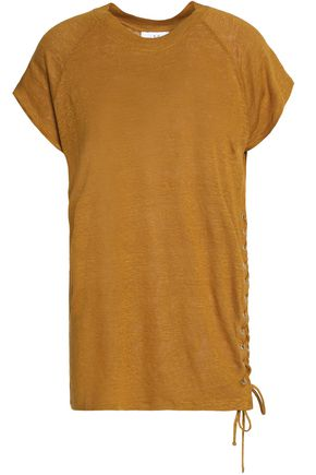 IRO Lace-up linen T-shirt