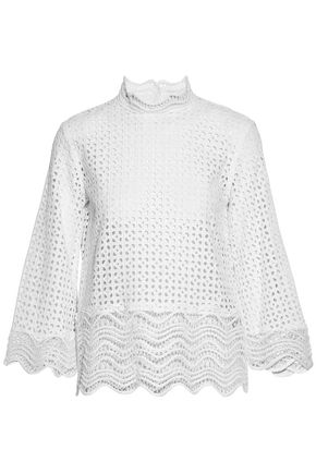 IRO Open knit-paneled broderie anglaise cotton top
