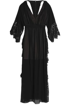 BADGLEY MISCHKA Cold-shoulder lace-paneled bead-embellished crepe gown