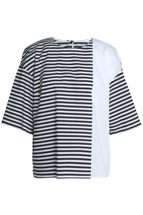 DOLCE & GABBANA Paneled striped cotton-poplin top