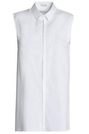 BRUNELLO CUCINELLI Crystal-embellished cotton-blend poplin shirt