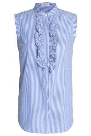 BRUNELLO CUCINELLI Crystal-embellished ruffled striped cotton-poplin shirt