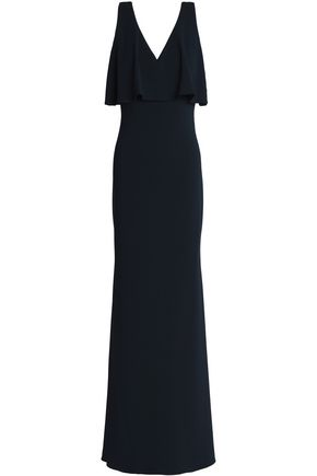 BADGLEY MISCHKA Layered ruffled stretch-crepe gown