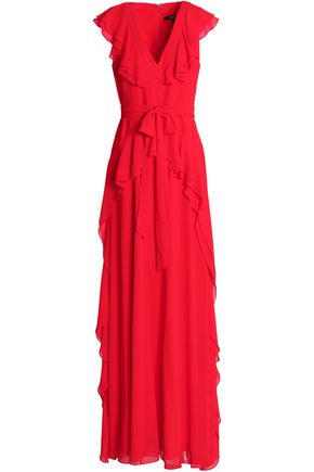 BADGLEY MISCHKA Tie-front ruffled crepe gown