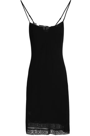 McQ Alexander McQueen Lace-trimmed crepe dress