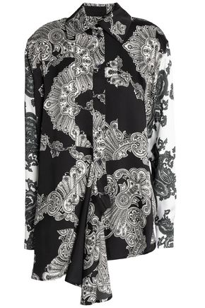 McQ Alexander McQueen Draped printed twill shirt