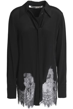 McQ Alexander McQueen Chantilly lace-paneled silk shirt
