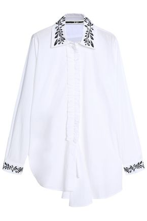 McQ Alexander McQueen Ruched embroidered cotton-poplin shirt