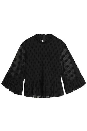 McQ Alexander McQueen Pleated flocked tulle blouse