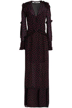 McQ Alexander McQueen Satin-paneled ruffle-trimmed printed crepe maxi dress
