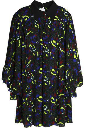 McQ Alexander McQueen Ruffled floral-print crepe mini dress