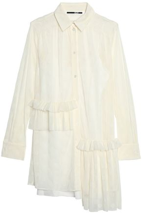 McQ Alexander McQueen Asymmetric ruffled flocked tulle shirt dress