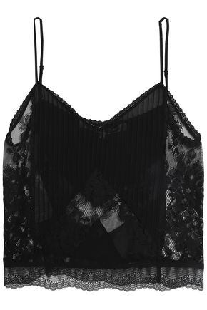 McQ Alexander McQueen Pleated patchwork habotai and lace camisole