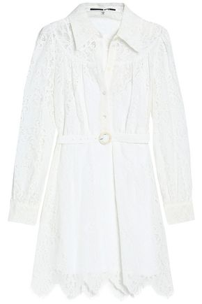 McQ Alexander McQueen Belted scalloped corded lace mini dress