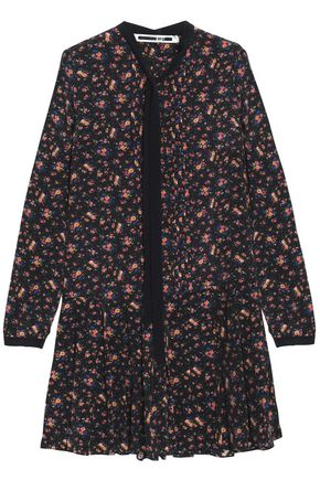 McQ Alexander McQueen Pussy-bow floral-print pleated crepe de chine mini dress