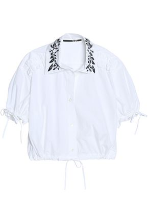 McQ Alexander McQueen Cropped embroidered ruched cotton-poplin shirt