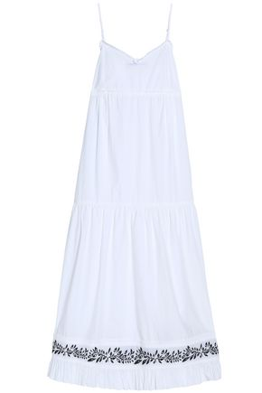 McQ Alexander McQueen Ruffle-trimmed embroidered cotton-poplin midi dress