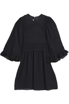 McQ Alexander McQueen Broderie anglais-trimmed ruffled gauze mini dress